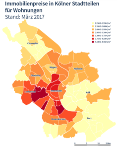 Informative Grafik über Wohnungskaufpreise für Kölner Stadtteile 2017