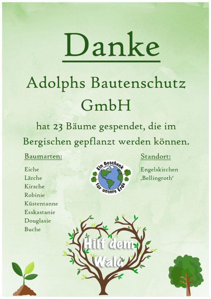 Hilf dem Wald Adolphs Bautenschutz